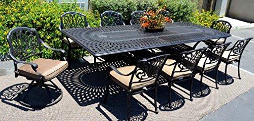 Patio Furniture Dining 11pc Elisabeth Set Outdoor Cast Aluminum Extension Rectangle 48 X 132 Table