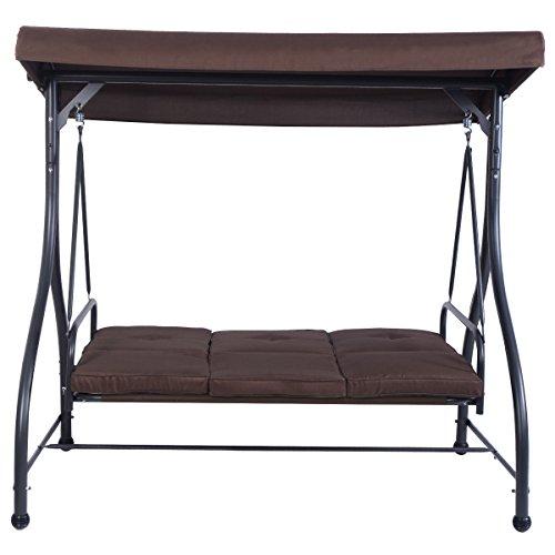 Kize2016 Converting Outdoor Swing Canopy Hammock 3 Seats Patio Deck Furniture Brown