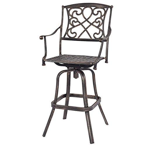 Costway New Cast Aluminum Swivel Bar Stool Patio Furniture Antique Copper Design Outdoor
