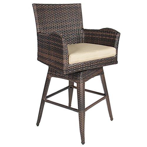 LTL Shop Patio Furniture Brown PE Wicker Swivel Bar Stool w Cushion Outdoor