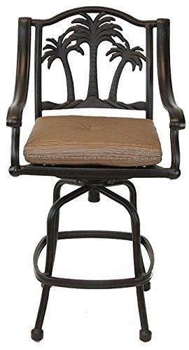 Palm Tree Outdoor Patio Set 8pc Swivel Barstools 30 H Dark Bronze Cast Aluminum Walnut Cushions