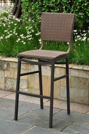 Wicker Resinaluminum Patio Bar Stool - Set Of 2