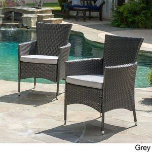 IndoorOutdoor Patio Wicker Dining Armchair 2 Piece Set Furniture Home Garden Yard Grey Set of 2