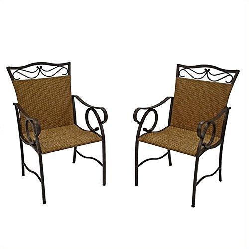 International Caravan Valencia All-Weather Wicker Patio Dining Chair - Set of 2