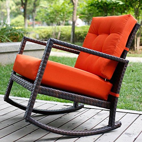Merax Cushioned Rattan Rocker Chair Rocking Armchair Chair Outdoor Patio Glider Lounge Wicker Chair Furniture