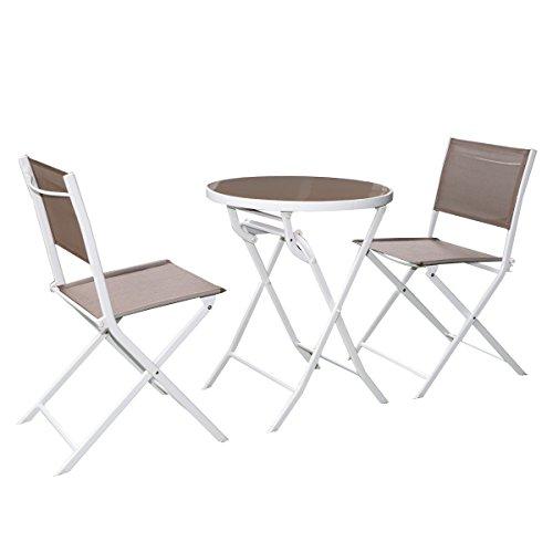 Giantex 3 Pc Brown Bistro Set Outdoor Garden Table ChairsPatio Furniture Folding Steel