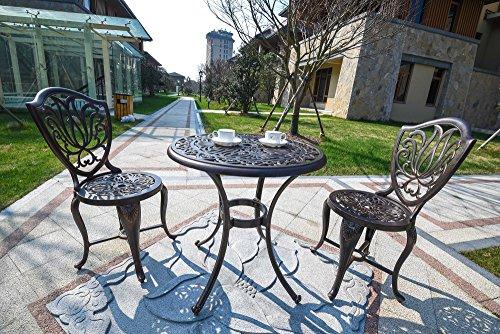 Domi Outdoor Living 3-piece Outdoor Patio Furniture Alexius Cast Aluminum Bistro Set Antique Copper