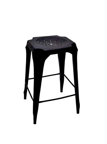 AVYAN AARI FURNITURE Premium Bar Stool - Hole Top Black Metal IndoorOutdoor Patio Furniture