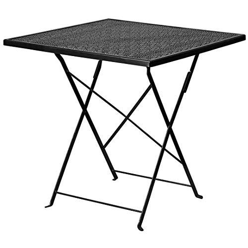 KLS14 Contemporary 28 Folding Square Steel Table Indoor-Outdoor Patio Furniture - Black2415