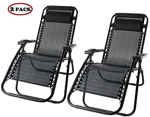 Merax Lounge Chair Zero Gravity Deck Chair Folding Reclining Patio Chair Set of 2Black