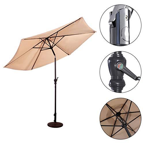 HAPPYGRILL 10ft Large Patio Umbrella Sun Umbrella Table Umbrella with Adjustable Tilt Crank for Outdoor Backyard Pool Beige