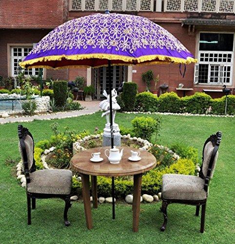 MegaCraft Indian multi Garden Floral Embroidered Cotton Large Patio Umbrella Parasol