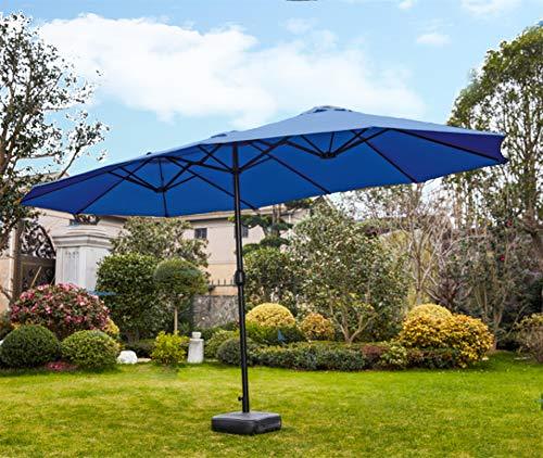 PatioFestival 15x9 ft Patio Umbrella Double-Sided Outdoor Umbrella Aluminum Garden Large Umbrella with Crank for MarketCampingSwimming Pool Blue