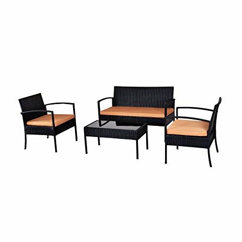 Ebs 4 Piece Outdoorindoor Patio Garden Lawn Furniture Rattan Wicker Glass Coffee Table Cushioned Sofa Set Brown