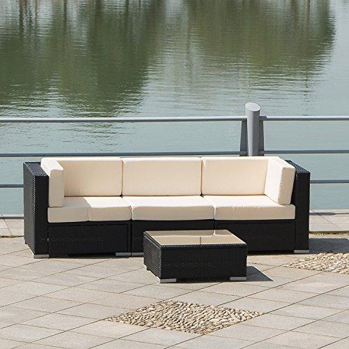 Sliverylake 4 Pcs Sofa Rattan Wicker Sectional Garden Patio Furniture Set