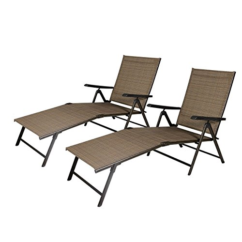 Cloud Mountain 2pack Outdoor Recliner Adjustable Pool Chaise Patio Lounge Chair Tan