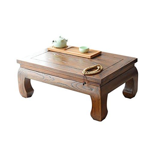 FLYSXP Old Elm Elm Table Floating Window Table Simple Tatami Tea Table Tea Table Imitation Retro 炕 Several Bed Table Kung Fu Tea Table Small Coffee Table Size  704525CM