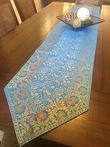 Grand Simplicity Table Runner Brocade 14X 80 Art Silk Beautiful Formal Blue Blue 14 X 80