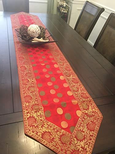 Grand Simplicity Table Runner Brocade Art Silk Beautiful Formal 14 x 80 Red