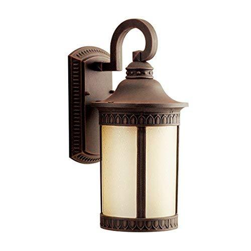 Kichler  10904PR Randolph 1LT 16IN 18W CFL Exterior Wall Lantern Prairie Rock Finish with Umber Etched Seedy Glass