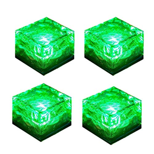 WONFAST 4Packs LED Solar Glass Ice Cube Lights Waterproof Frosted Glass Brick Rock Lamp Outdoor Solar Garden Light for Path Yard Garden Lawn Driveway Decoration Green