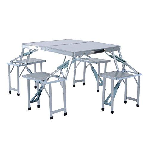 Outsunny Portable Folding Outdoor Picnic Table w 4 Seats