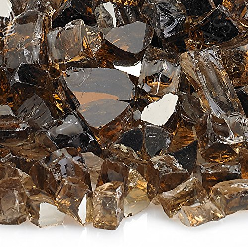 American Fireglass 10-Pound Reflective Fire Glass with Fireplace Glass and Fire Pit Glass 12-Inch Copper