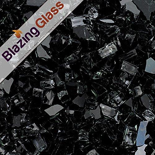 Blazing Fireglass 10-pound Fire Glass With Fireplace Glass And Fire Pit Glass 14-inch Black