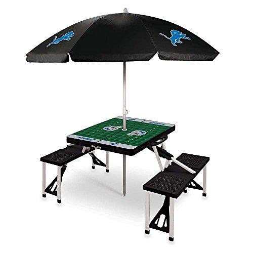 Detroit Lions Picnic Table With Umbrella Black