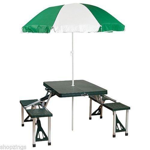 Portable Folding Picnic Table with Umbrella Camping Park Beach Outdoor
