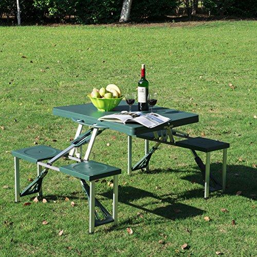 GHP Green Portable Outdoor Folding CampingPicnic Table w CaseDeep Seats