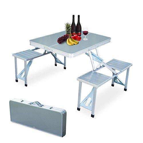 Oshion Outdoor Garden Aluminum Portable Folding Camping Picnic Table 4 Seats