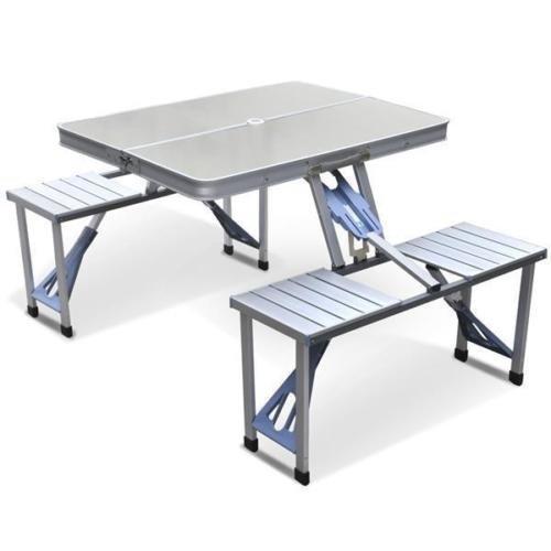 Outdoor Garden Aluminum Portable Folding Camping Picnic Table W 4 Seats