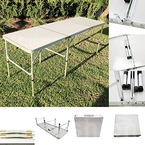 Magshionaluminum Tri-folding Table Outdoor Picnic Camping Dining Party Travel Tables- 6ftx2ft Light Weight