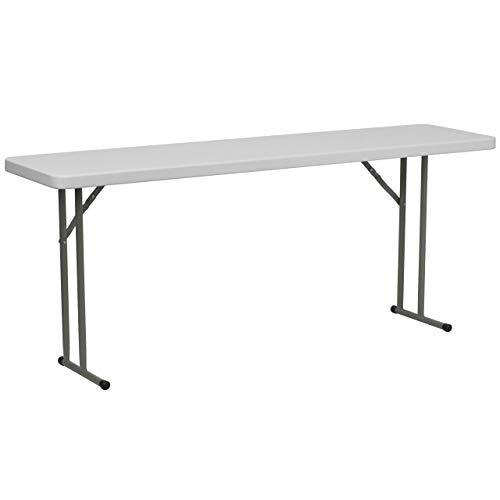 Flash Furniture 18W x 72L Granite White Plastic Folding Training Table Renewed
