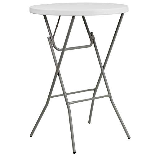 Flash Furniture 26-Foot Round Granite White Plastic Bar Height Folding Table
