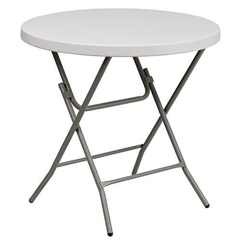 Flash Furniture 3-Foot Round Granite White Plastic Folding Table RB-32R-GW-GG GrayWhite