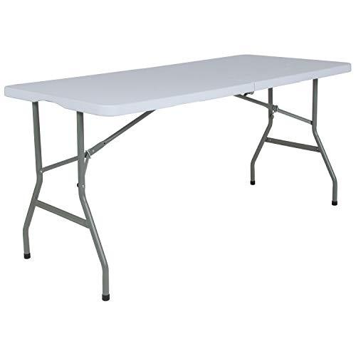 Flash Furniture 5-Foot Bi-Fold Granite White Plastic Folding Table RB-3060FH-RES-GG