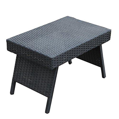Joveco Rattan Wicker Outdoor Backyard Bistro Foldable Side Table