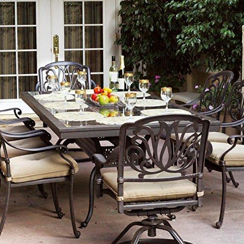 Darlee Elisabeth 9 Piece Cast Aluminum Patio Dining Set With Granite Top Table - Ruby Granite Tile