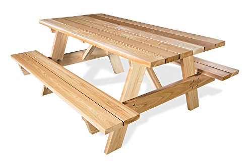 6 ft CEDAR Picnic Table w Attached Bench