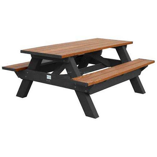 Deluxe 6 Picnic Table Cedar Top BenchBlack Frame