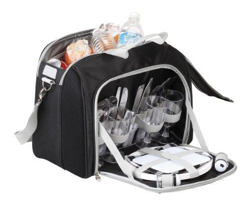 4pcs Tableware Set Picnic Cooler - Black