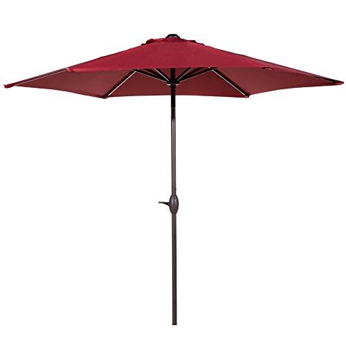 Abba Patio 9 Ft Market Outdoor Aluminum Table Patio Umbrella With Push Button Tilt And Crank Red