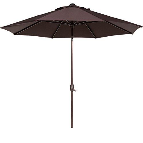 Abba Patio 9 Patio Umbrella Market Outdoor Table Umbrella with Auto TiltCrank 8 Ribs Chocolate