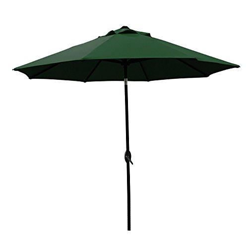 Abo Gear 9 Ft Outdoor Table Aluminum Patio Umbrella With Auto Tilt And Crank 8 Ribs Polyester Green