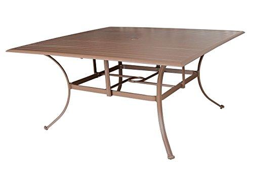 Panama Jack Outdoor Island Breeze Slatted Aluminum Square Dining Table with Umbrella Hole 60-Inch