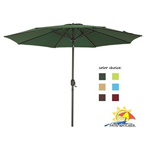 Patio Watcher 9 Ft Outdoor Table Aluminum Patio Umbrella with Auto Tilt and Crank8 Steel Ribs250GSM Fabric UV Resistant Dark Green