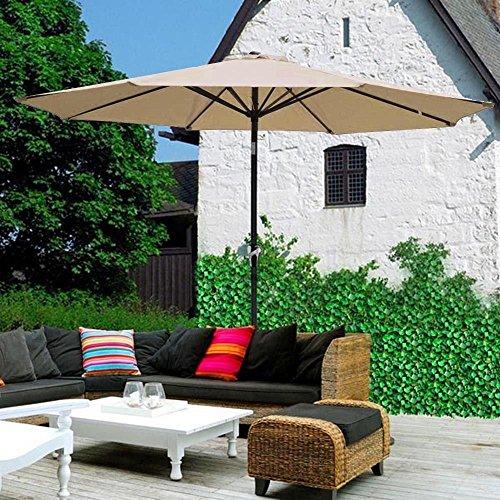 Sol Maya 9 Ft Market Outdoor Aluminum Table Patio Umbrella With Push Button Tilt And Crank beige