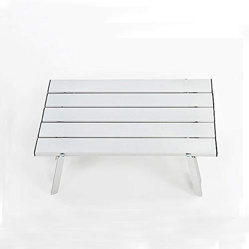 BrandBrandBrandBrand Ultralight Table Outdoor Mini Folding Portable Table Picnic Table Light Aluminum Travel Table for Wild Camping Color  White